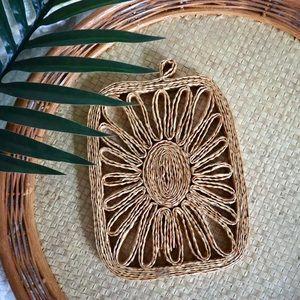Vintage BOHO wicker wall art hot pad